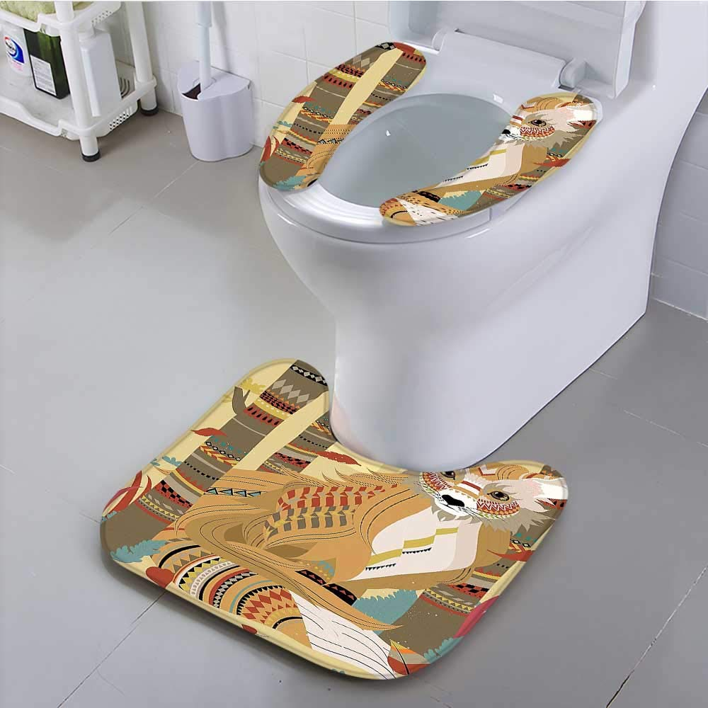 Philiphome Universal Toilet seat Theme a Fluffy Fox in The Forest and Tree Trunks Decorative Design Pattern Convenient Safety and Hygiene