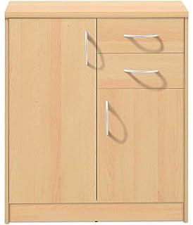 Kommode Sideboard Highboard Schrank Anrichte mit 2 Türen 5 Schubladen Buche