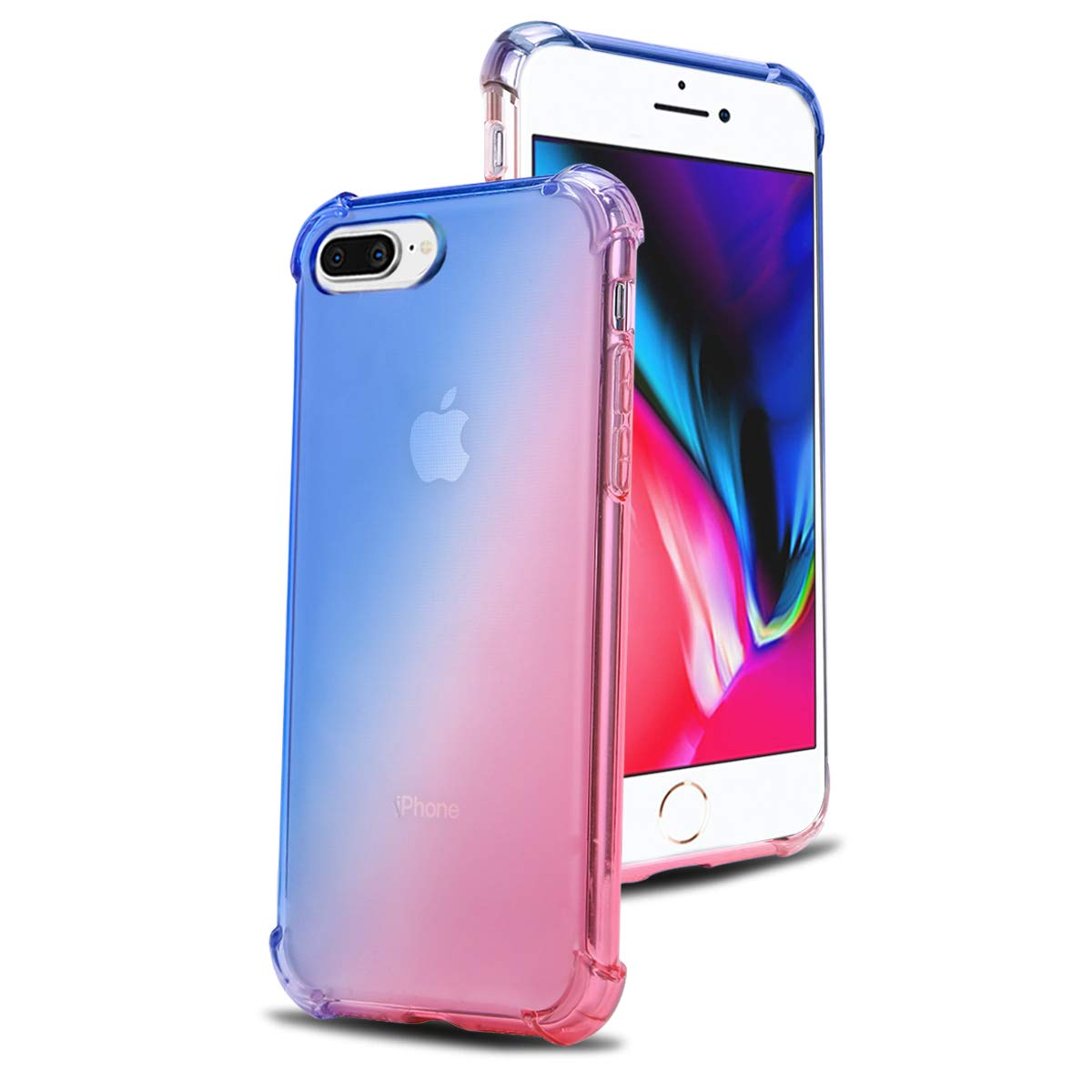 reputable site 2ef1a ab53c Airror Phone Case Compatible with iPhone 8 Plus/iPhone 7 Plus, Clear  Multi-Color Gradients Slim Case, Impact Resistant Protective Soft TPU Cover  [ ...
