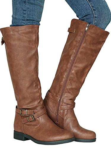 6161a81d1434 Dellytop Women s Wide Calf Riding Boots Low Heel Buckle Strap Side Zip Up  Faux Leather Shoes