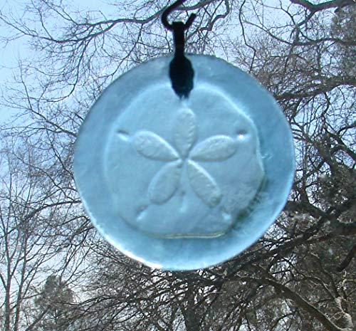 Sand Dollar Sun Catcher Upcycled Light Blue Glass Bottle Bottom Ornament