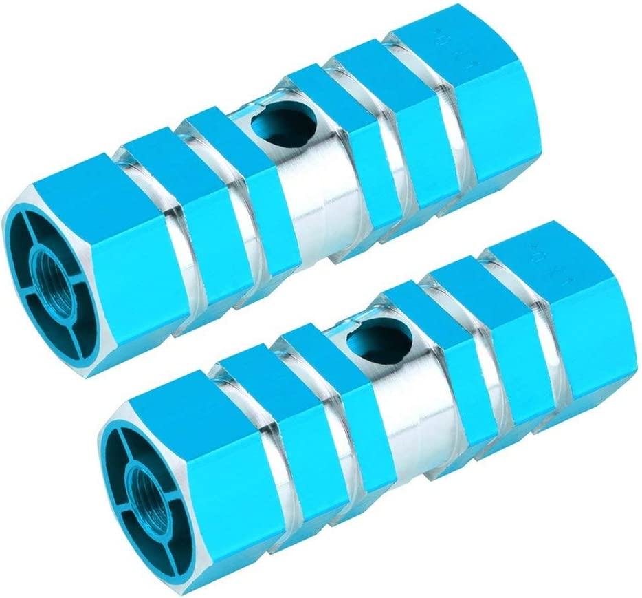 New 2pcs Bicycle Foot Pegs 1 Pair Aluminum Alloy Pegs Bike Cycling Bicycle Rear Stunt Foot Peg Six Axle Hot blue