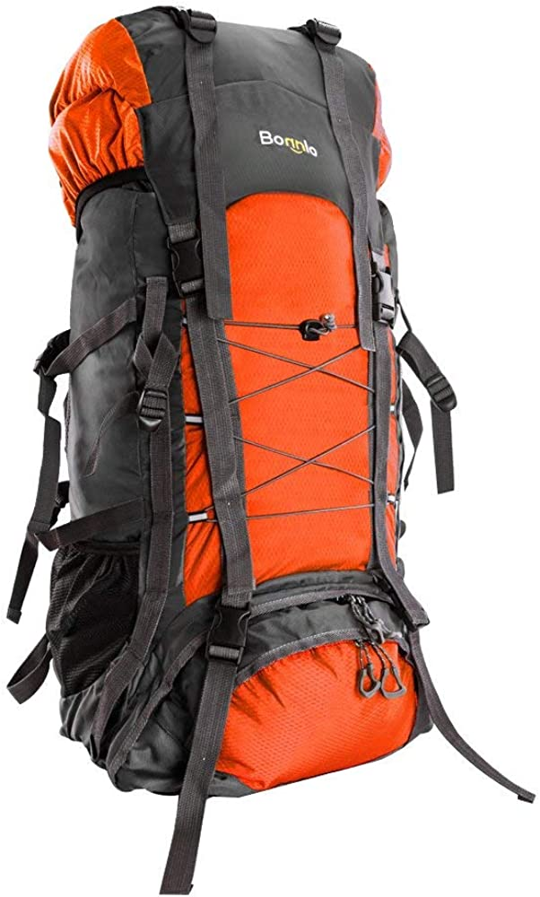 Bonnlo 55L Hiking Backpack, Inner Frame Backpack, Travel Daypack with Rain Cover, Upgraded, High-Performance Packs, Large Capacity Waterproof, for Outdoor Sports Climbing Orange