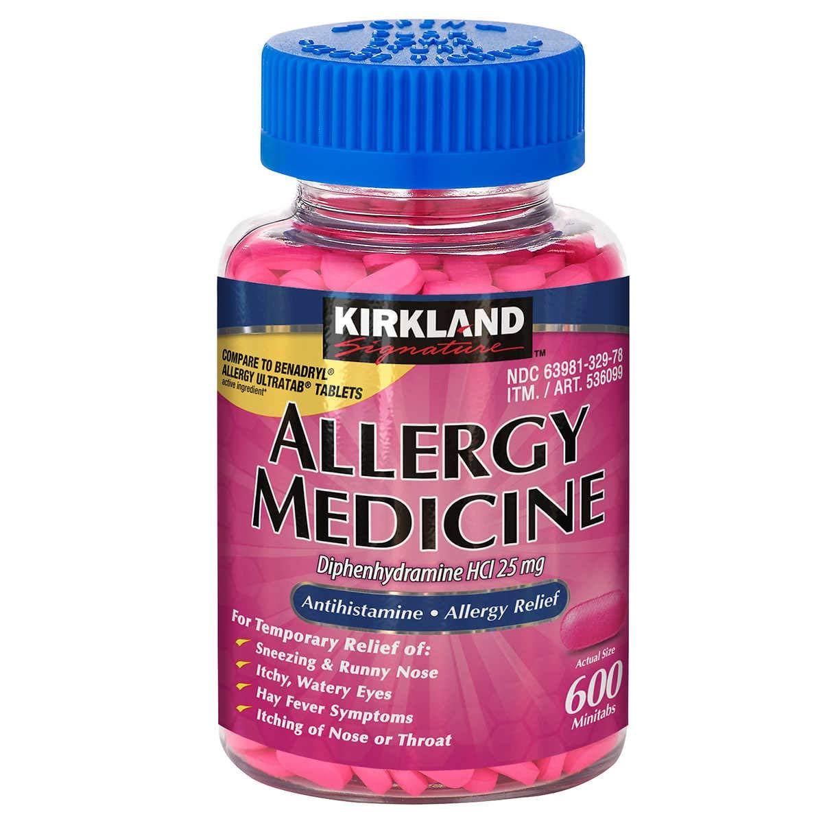 Kirkland Signature Allergy Medicine Diphenhydramine HCI 25 mg - 600 Tablets