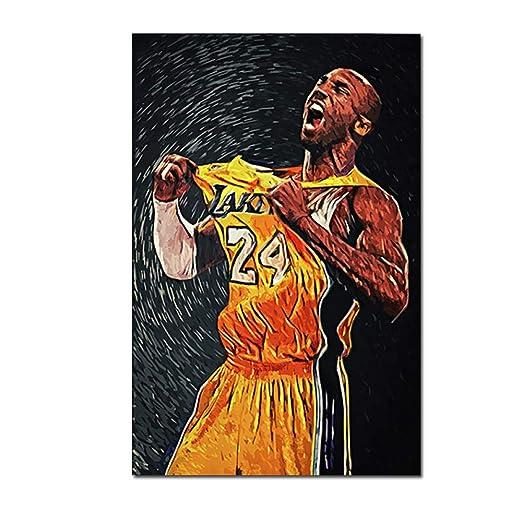 yiyiyaya Pintura sobre Lienzo Baloncesto Estrella Retrato Carteles ...
