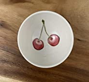 Small Porcelain Bowl Handpainted in Cherry Pattern