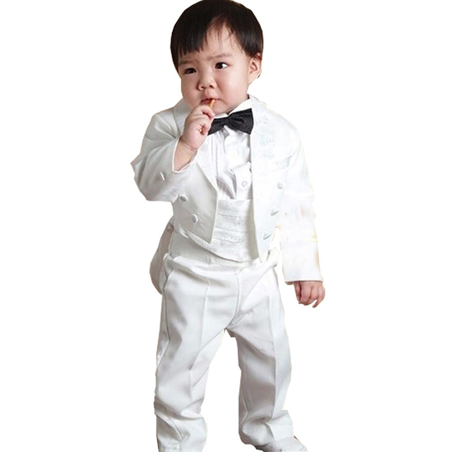 GSCH Boy's 5Pcs Formal Tuxedo Suit With Tail Jacket Shirt Vest Pants and Bowtie china