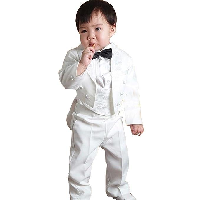 GSCH 5pcs Niños bebés Caballero boda Trajes Chaqueta + Pantalon + Camisas +  Pajarita Ajustable + Pretina (12 mes-4 años) 495e794e1064