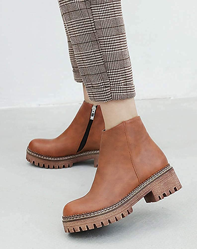 Womens Simple Inside Zip Up Round Toe Booties Chunky Low Heel Platform Ankle Boots with Zipper