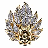TOPGRILLZ 14K Gold Plated Iced out CZ Simulated Diamond Saiyan Cartoon Dragon Ball Son Goku Pendant Necklace for Men Hip Hop Jewelry (Gold)