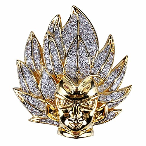 TOPGRILLZ 14K Gold Plated Iced Out CZ Simulated Diamond Saiyan Cartoon Dragon Ball Son Goku Pendant Necklace for Men Hip Hop Jewelry (Gold) (Dragon Ball Z Chain)