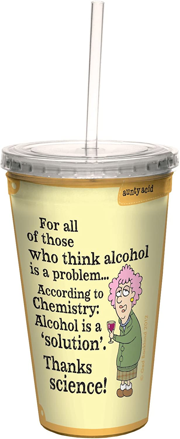 Leaning Forwards 16-Ounce Tree-Free Greetings cc33860 Hilarious Aunty Acid Double-Walled Cool Cup with Reusable Straw
