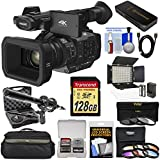 Panasonic HC-X1 4K Ultra HD Video Camera Camcorder with 128GB Card + LED Video Light + Microphone + Case + 9 Filters + Kit