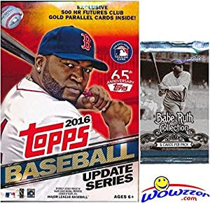 2016 Topps UPDATE MLB Baseball HUGE Factory Sealed Hanger Box with 72 Cards including EXCLUSIVE 500 Futures GOLD PARALLEL Cards PLUS Bonus BABE RUTH Collection Foil Pack! Look for Autographs & Relics!