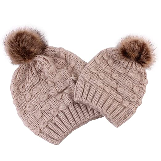 b48c1cc98 Amazon.com: 2PCS Mother & Baby Daughter/Son Winter Knitting Beanie ...