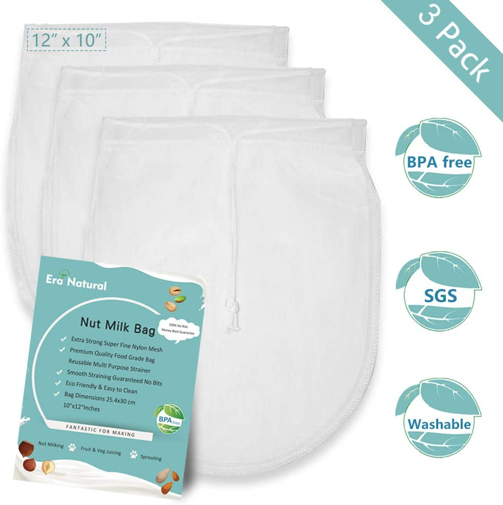 "Nut Milk Bag Reusable 3 Pack 12"" x 10"" Cheesecloth Bags for Straining Almond/Soy Milk Greek Yogurt Strainer Milk Nut Bag for Cold Brew Coffee Tea Beer Juice Fine Italian Nylon Mesh Cheese Cloth"