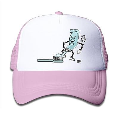 Cartoon Toothpaste Toothbrush Mesh Caps Adjustable Plain Trucker Hats For Teeny