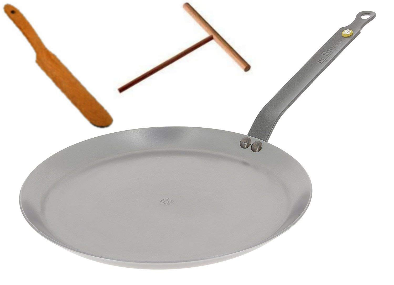 De Buyer 5615.26 Mineral B Element Crepe Pan 10.2-Inch/26 cm (FREE BONUS: Spreader + Turner)