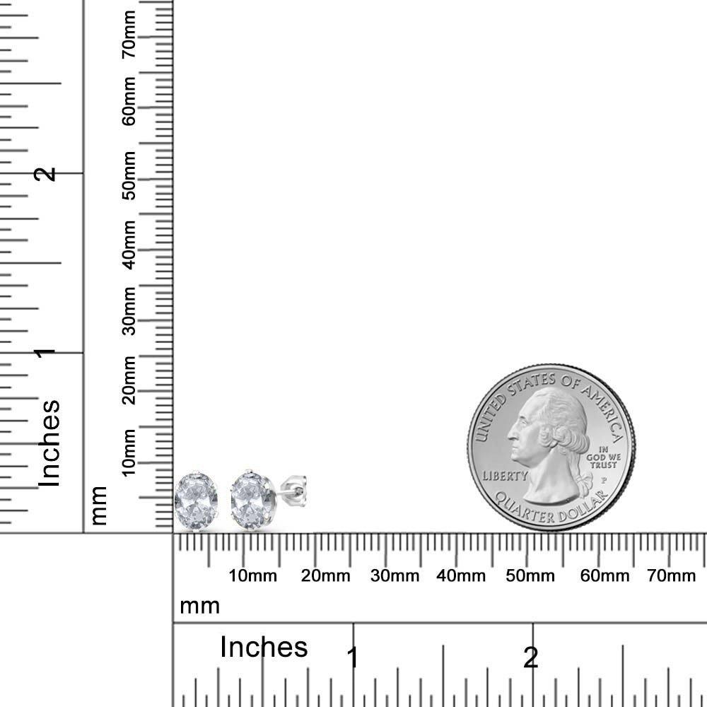 Gem Stone King 2.60 Ct Oval 8x6mm White Topaz 925 Sterling Silver Stud Earrings