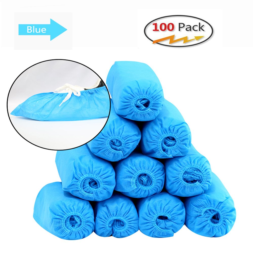 Espier Shoe Covers 100 pack, Disposable Hygienic Boot & Shoe Covers Durable, Water Resistant Covers for Home,Cars,Medical, Workplace, Indoor/Outdoor Carpet Floor (50 pairs) Blue