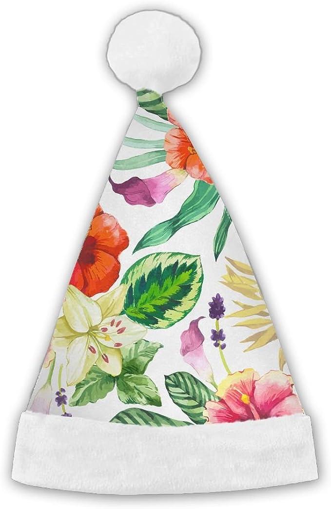 PengMin Bouquet Of Petunias Luminous Pattern Christmas Hats Adult and Kid Santa Hat