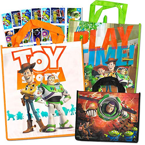 Toy Story Party Bags Value Pack with Stickers -- 3 Reusable Toy Story Tote Party Supplies Bags (Toy Story Party Supplies)]()