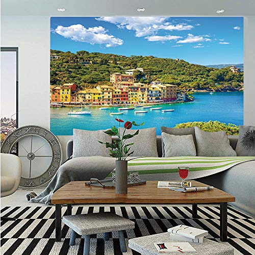 SoSung Italy Wall Mural,Portofino Landmark Aerial Panoramic View Village and Yacht Little Bay Harbor Decorative,Self-Adhesive Large Wallpaper for Home Decor 55x78 inches,Blue Green Yellow