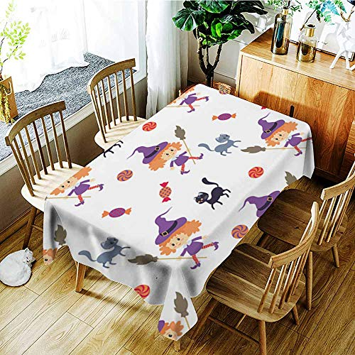 AGONIU Custom Tablecloth,Seamless Pattern with Traditional Characters of Halloween,High-end Durable Creative Home,W60X102L ()