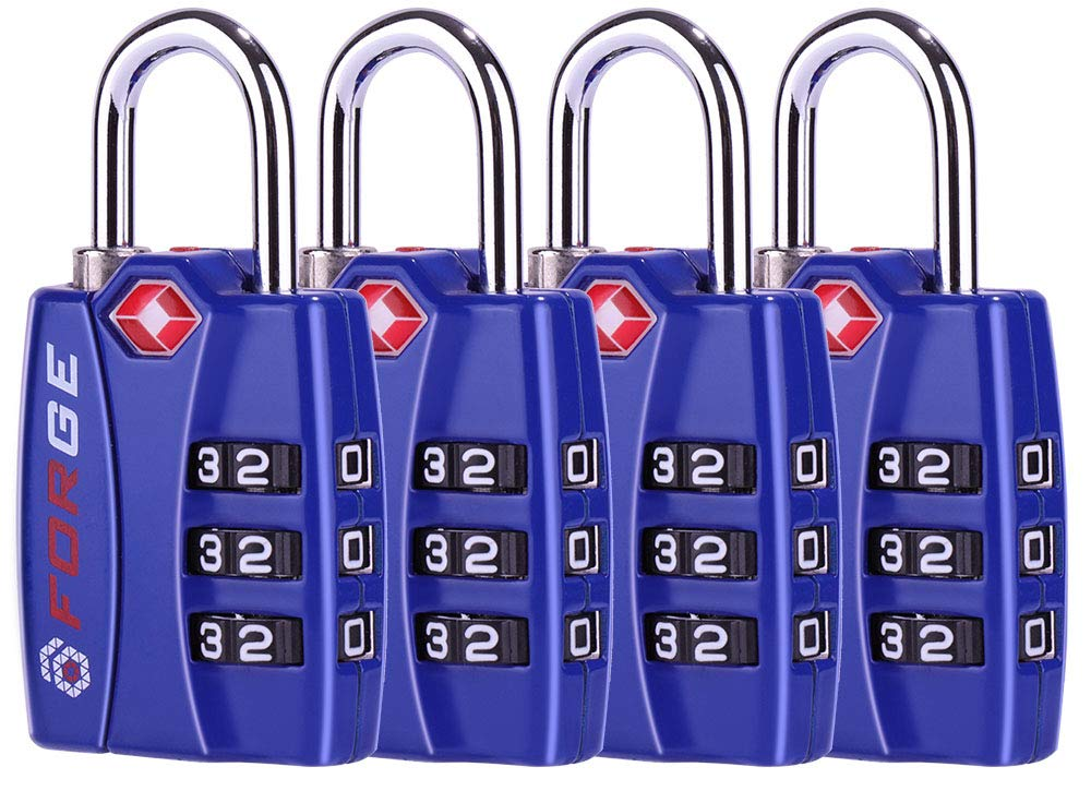 Forge TSA Lock 4 Pack - Open Alert Indicator, Easy Read Dials, Alloy Body 6.46648E+11