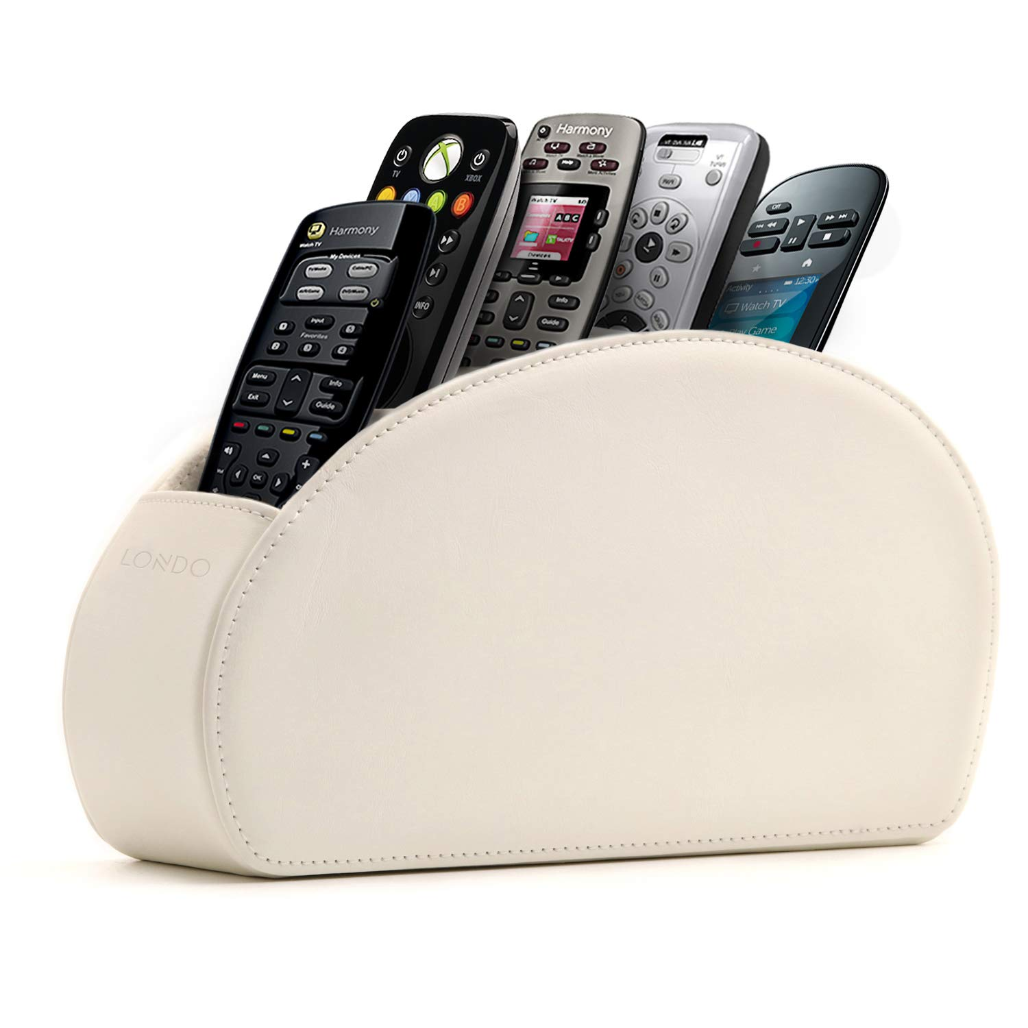 Londo - Leather Remote Control Holder Organizer with Suede Lining for DVD Blu-ray TV Roku or Apple TV Remotes (Leather, White)