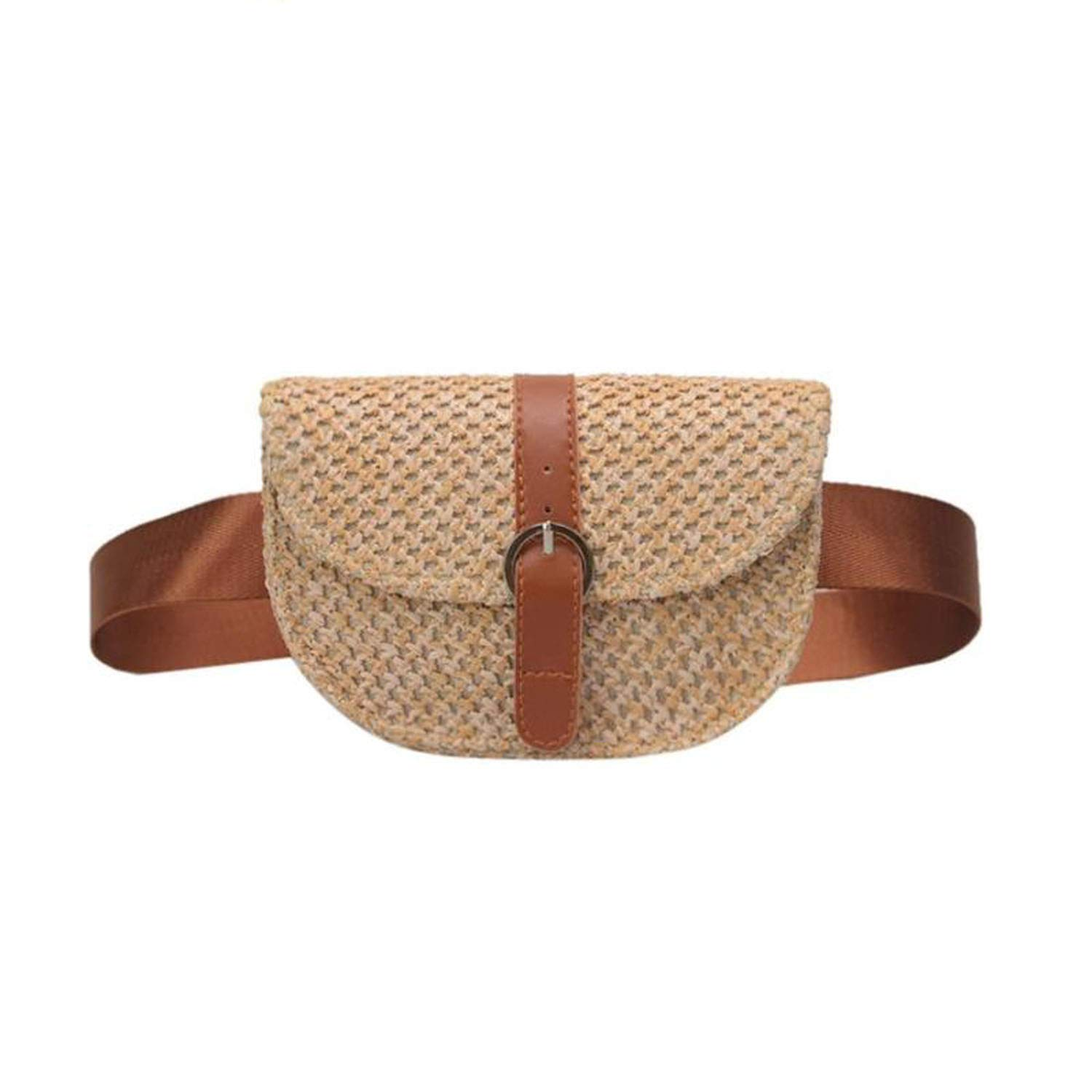 Amazon.com | Women Half Circle Straw Bags Straw Waist Bags ...