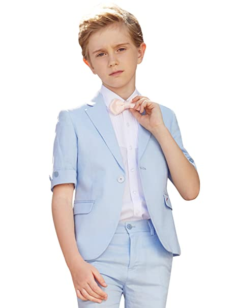 de7367a36 ELPA ELPA Boys Suits 4 Pieces Kids Summer Suits Formal Dress Wear for  Holiday Graduation Blue