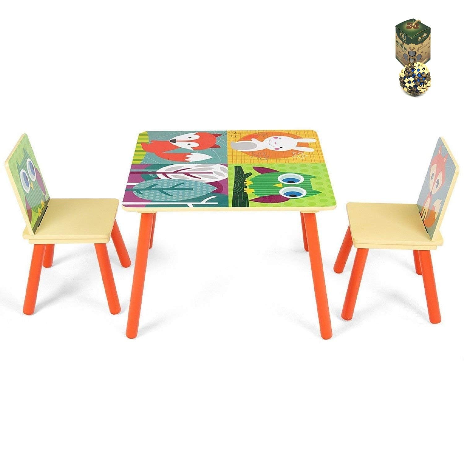 COSTWAY Kids Table and 2 Chairs Set Desk w/Cartoon Pattern