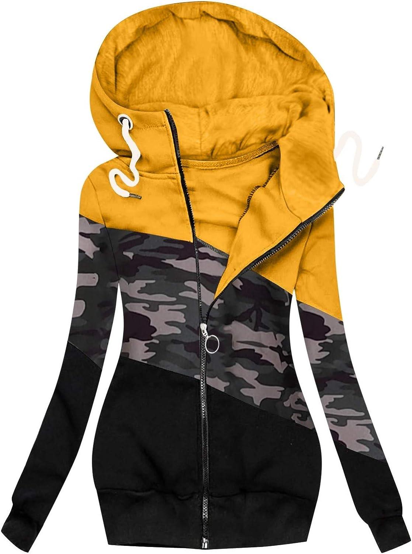 OPIAL Damen Pullover Strickjacke üBergangsjacke Jacke Pullover LäSsige ReißVerschluss-Kapuzenpullover FüR Damen Leopard Patchwork B3 Gelb