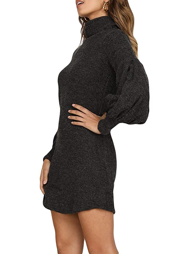 78a5628085c Azokoe Womens Casual Loose Heap Collar Mini Knit Sweater Dress with Side  Pockets at Amazon Women s Clothing store