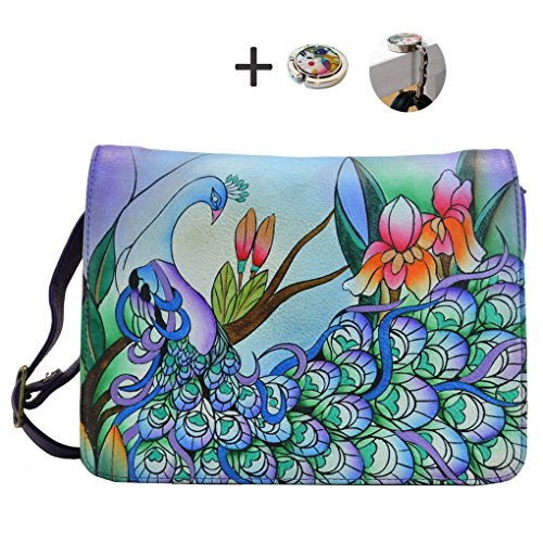 Painted w with E Purse Hobo on 2 Anuschka Holder Hand Leather Design Handbag Peacock Anna Purse Midnight Real R6OwvwqI