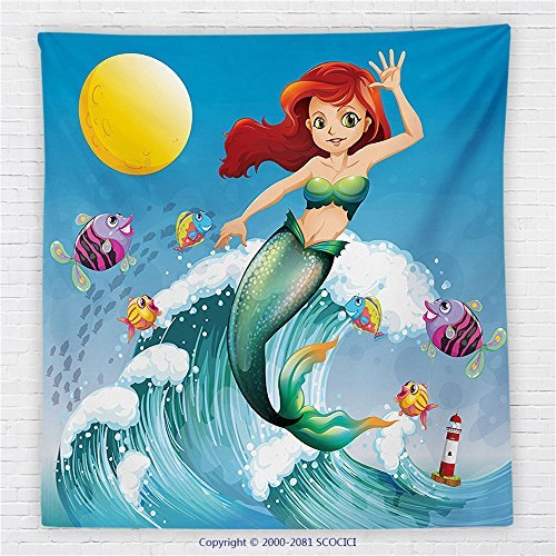 59 x 59 Inches Mermaid Decor Fleece Throw Blanket Illustration of Cute Little Mermaid on top of a Big Wave in the Surf with Fish Kids Decor Blanket Multi