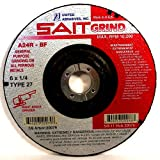United Abrasives SAIT 20079 Type 27 6-Inch x 1/4-Inch x 7/8-Inch Grade A24R Long Life Depressed Center Grinding Wheels, 25-Pack