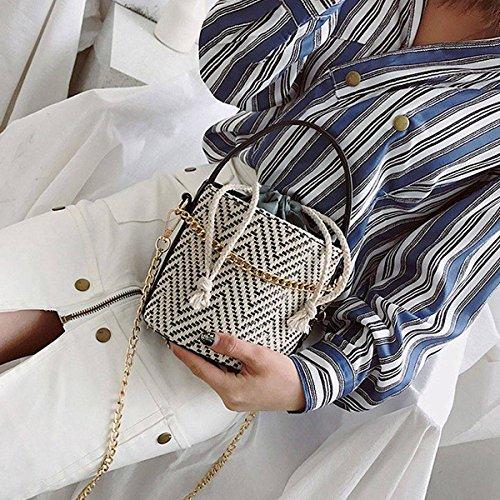SODIAL Mujeres Straw Bolso Tote Summer Holiday Woven Bucket Bag Leisure Cadena de hombro Bolso Crossbody (negro) Negro
