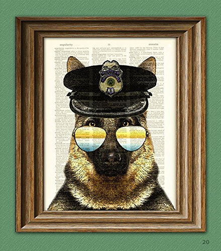 (German Shepherd Art Print ' K9 Rex' Police Dog beautifully upcycled vintage dictionary page book art print)