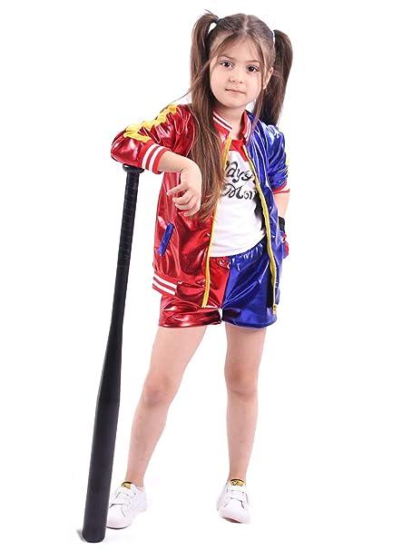 YOSICIL Adulta Niñas Disfraz Suicide Squad Harley Quinn con Guantes Fancy Dress Cosplay Conjunto de Harley Quinn Camiseta y Pantalones Cortos 3-10años