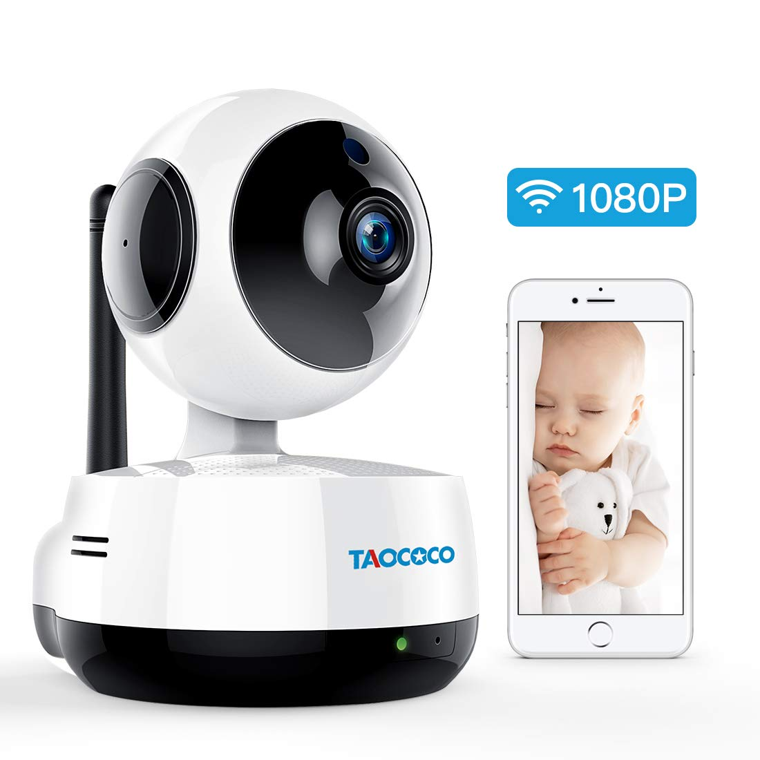 TAOCOCO Wireless IP Camera, 1080P HD WiFi Security Camera, Baby Monitor Home Dome Camera for Pet/Baby/Elder, Nanny Cam with Pan/Tilt, Motion Detection, IR Night Vision, Two Way Audio