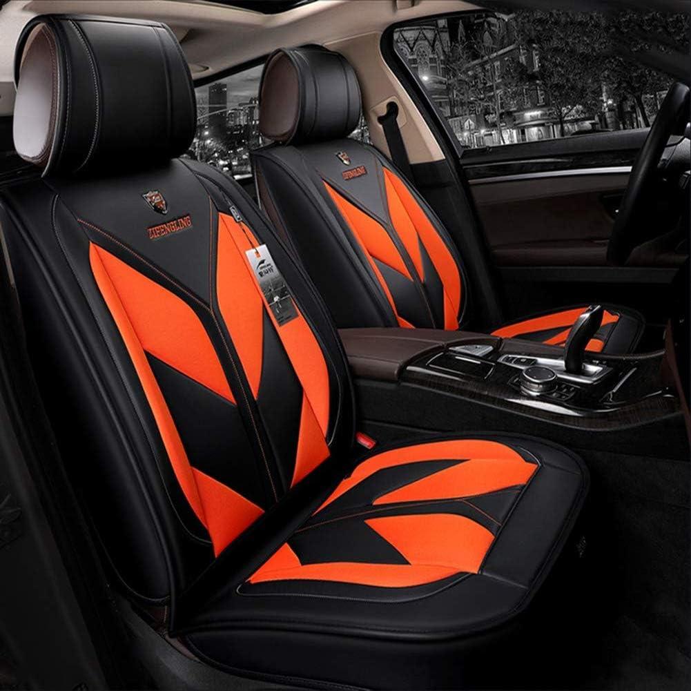 高級 革 カーシート カバー, フルセット 汎用 フィット 5 つの座席 車 囲ま 防水 車用シートカバー プロテクター の トヨタ タコマ-オレンジ