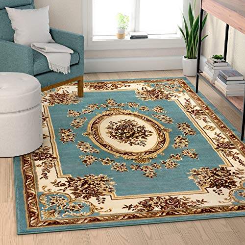 Well Woven Timeless Le Petit Palais Light Blue Traditional Area Rug 5'3