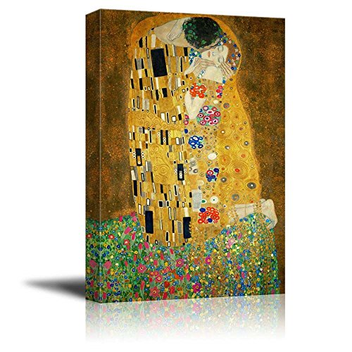 "Wall26 Canvas Print Wall Art - The Kiss by Gustav Klimt Giclee Printed Famous Painting on Stretched Gallery Wrap - 16"" x 24"""