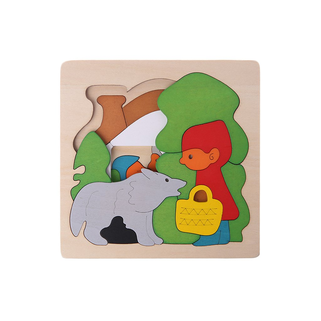 Timberlark Wooden Cartoon Multilayer Jigsaw Puzzle Kids Children Educational Toy Gift-Red Hat