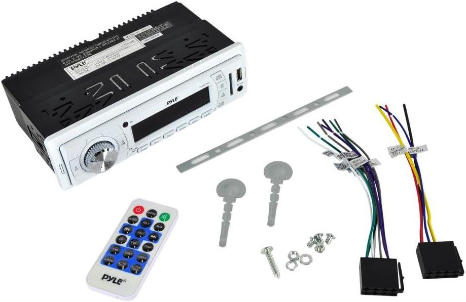 AUX AM FM Radio RCA Remote Control Weatherband 12v Single DIN Style Digital Boat In dash Radio System w// MP3 USB SD PLMR19W Pyle Stereo Marine Headunit Receiver Power Wiring Harness White