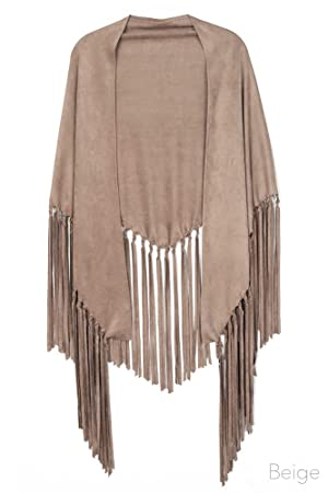 ScarvesMe Handmade Faux Suede Shawl with Fringe (Beige)