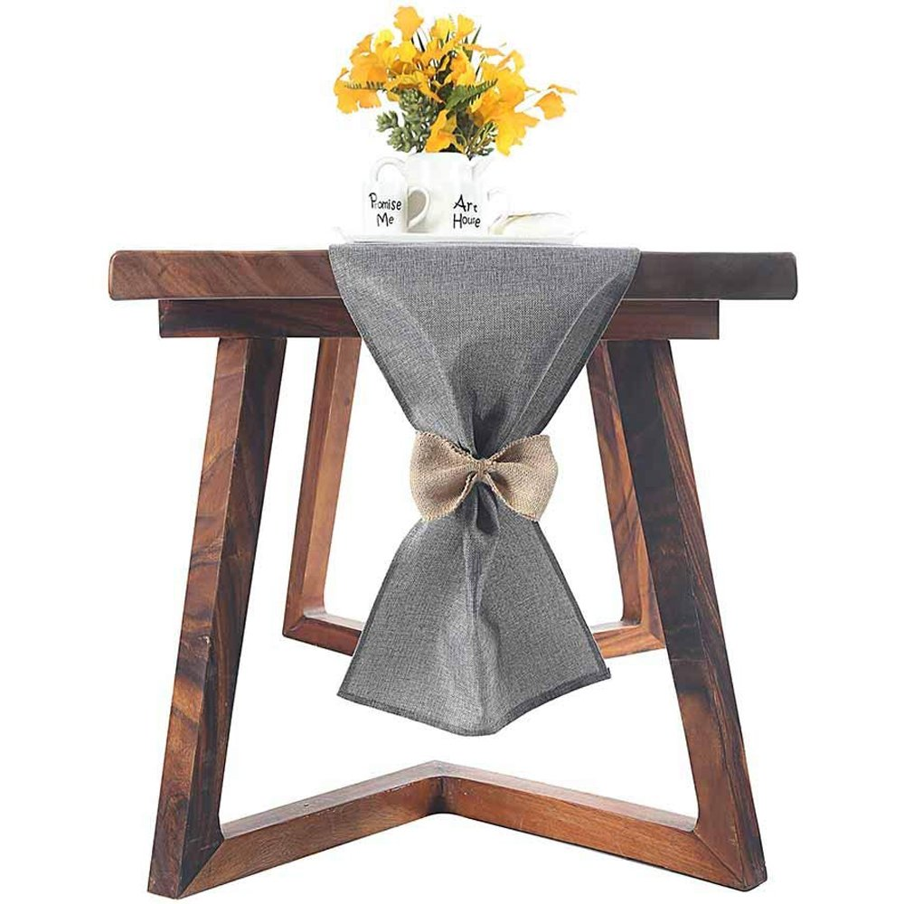 We Moment Gray Natural Burlap Table Runner 13x59Inch-Perfect for Weddings, Farmhouse Table Runner,Dinners,Parties,Dresser Cover Runner,Kitchen,Party Decorations
