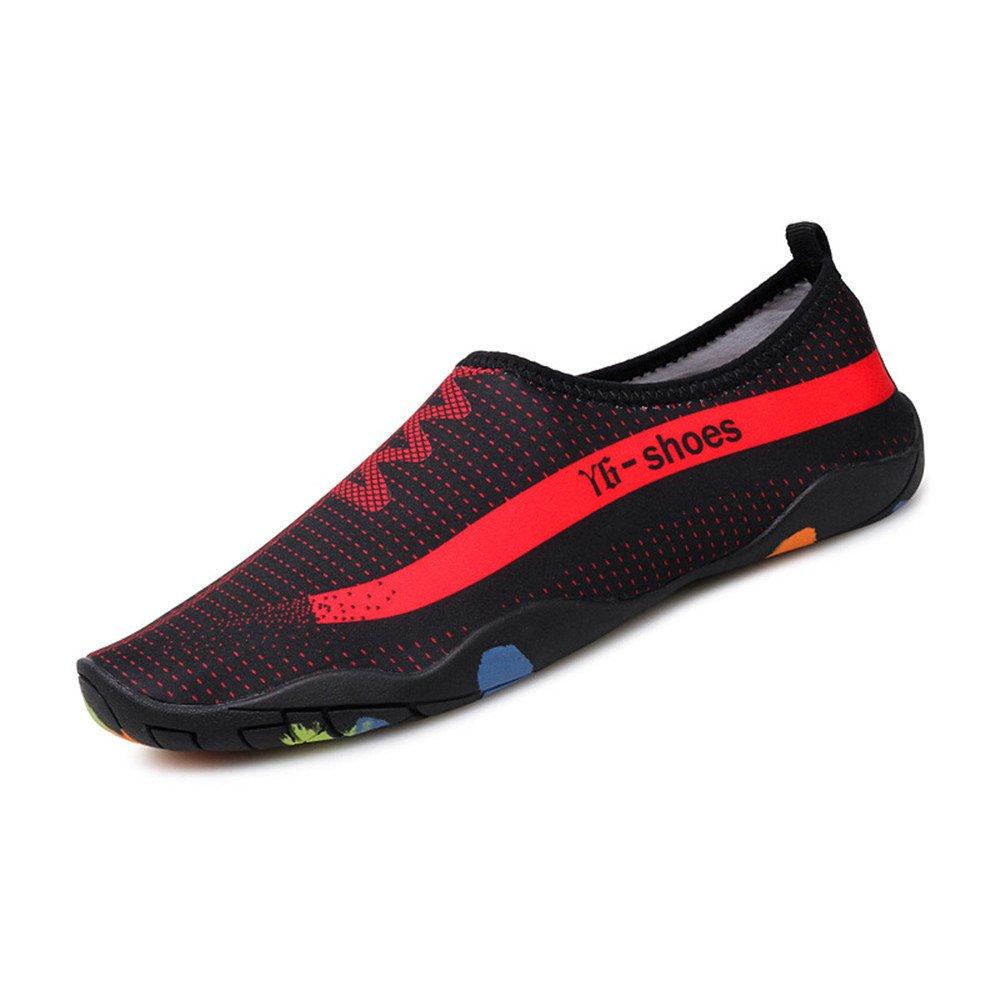 Humasol Men Women's Lightweight Quick-Dry Aqua Shoes Multifunctional Water Socks for Swim Beach Pool B073WTMH7R US Women:6.5-8 (EU 37-38)|NY6-Black & Red